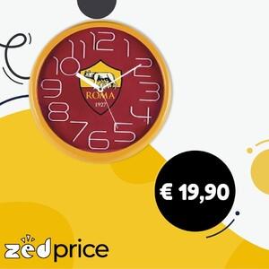 ⌚ L'orologio da parete Ufficiale della tua Squadra del Cuore a scandire ogni momento della tua giornata. Misura: diametro 30 cm (misure esterne dell'orologio) Movimento alimentato con batteria stilo 1.5v (non in dotazione) Confezione scatola in cartone con coperchio in plastica trasparente Prodotto ufficiale #orologioroma #orologicalcio #orologi #calcioitaliano #orologiroma #romaitalia #roma #zedprice #ecommerce #shopping #shoppingitalia #ecommerceitalia #forzaroma